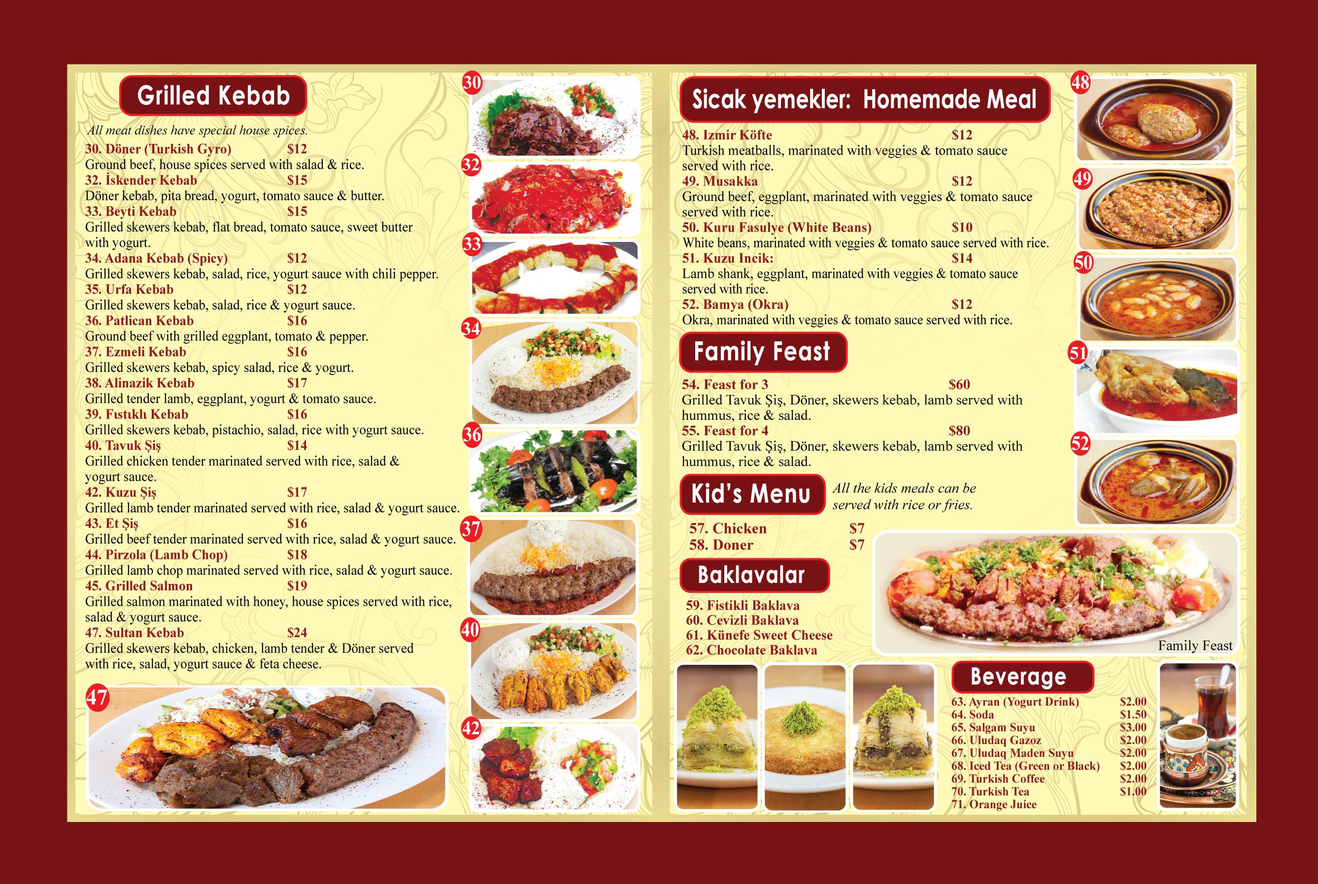 sultan baklava menu